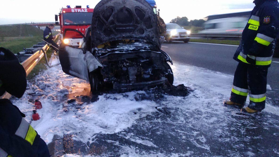 Pożar samochodu na autostradzie A4